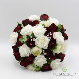 Burgundy and ivory brides posy artificial roses, ranunculus