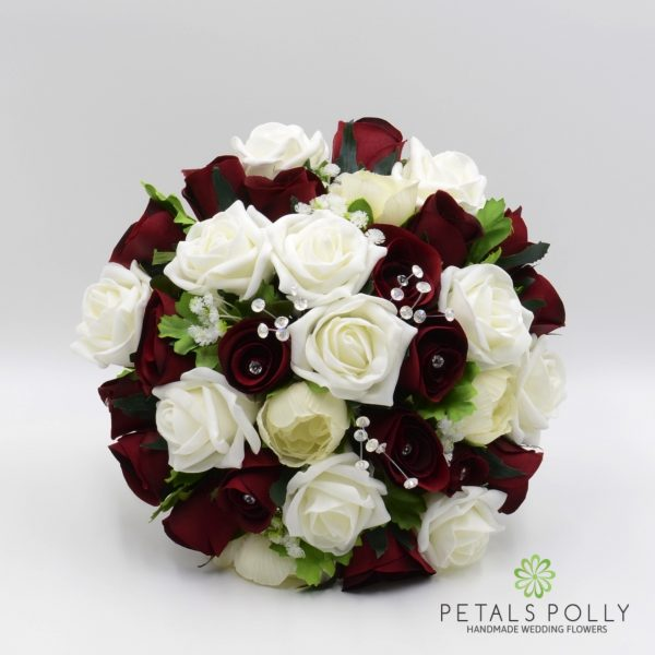 Burgundy & Ivory Rose Brides Posy with Ranunculus