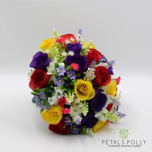MULTI-COLOURED ROSE BRIDES POSY WITH DAISIES AND LAVENDER