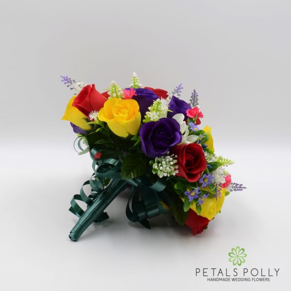 Multi-coloured Rose Brides Posy with Daisies & Lavender