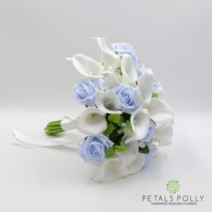 Artificial baby blue and white brides posy bouquet