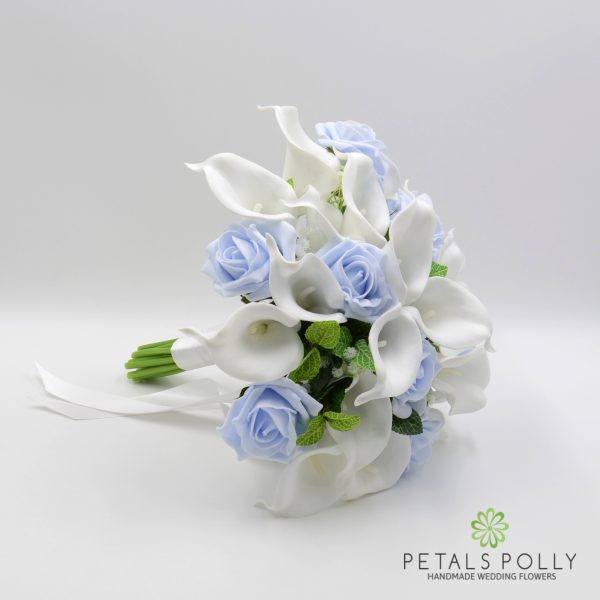 Baby Blue Rose & White Calla Lily Brides Posy