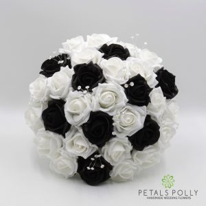 Black and white foam rose brides posy