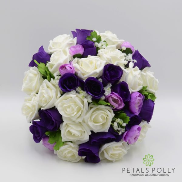 Purple, Lilac & Ivory Rose with Ranunculus Package