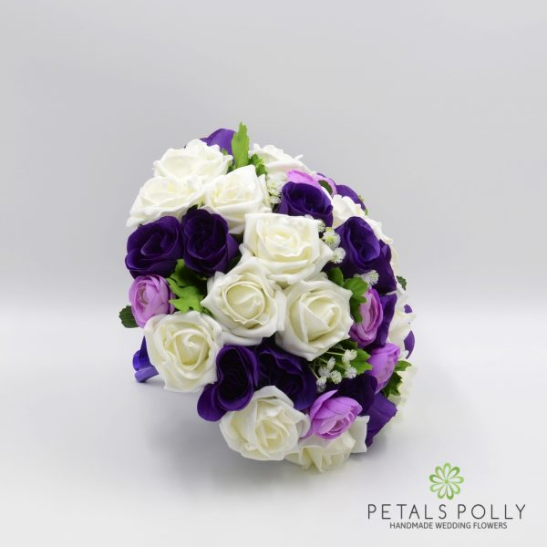 Purple, Lilac & Ivory Rose Brides Posy with Ranunculus