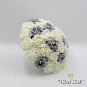 Grey and ivory foam rose brides bouquet