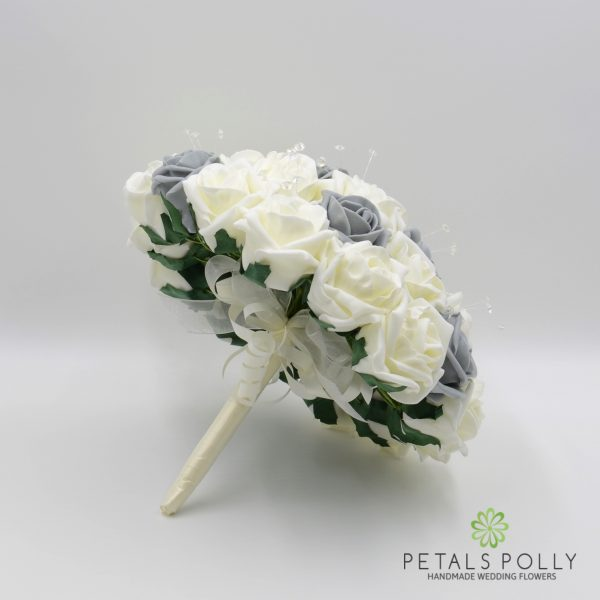 Grey & Ivory Rose Brides Posy with Crystal Stems