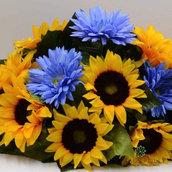 Sunflower & Blue Gerbera Top Table Decoration
