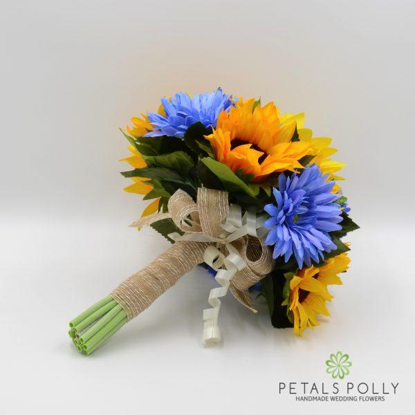 Sunflower & Blue Gerbera Brides Posy