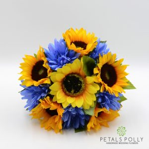 Artificial Sunflower & Blue Gerbera Bridesmaids Posy