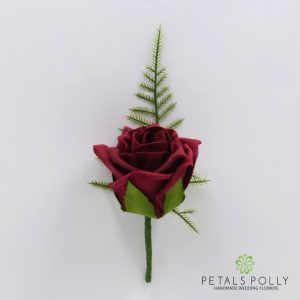 Burgundy foam rose buttonhole
