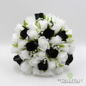 Black and white silk rose brides bouquet
