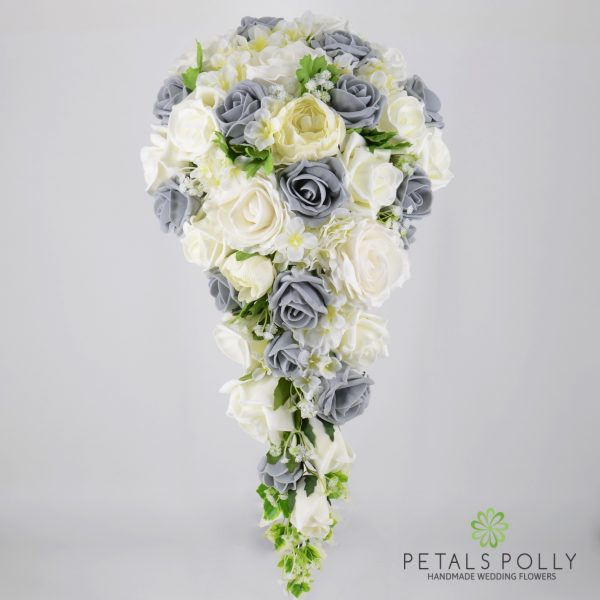 Grey & Ivory Rose Brides Teardrop Bouquet with Ranunculus and Hydrangea