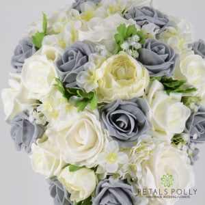 Silk brides teardrop bouquet grey and ivory