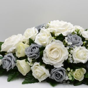 grey and ivory rose silk top table decoration