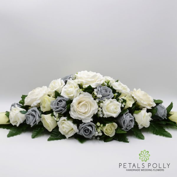 Grey & Ivory Rose Top Table Decoration