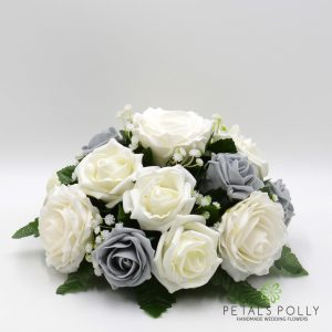 grey and ivory rose silk table centre decoration