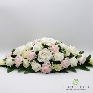 blush and ivory rose silk top table decoration