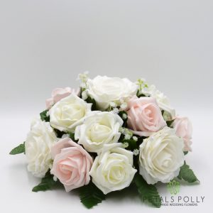 blush pink and ivory rose silk table centre decoration