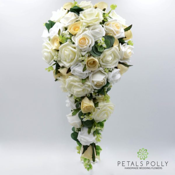 Champagne, Ivory & White Rose Brides Teardrop Bouquet