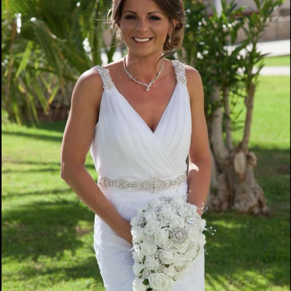 White Rose Brides Teardrop Bouquet with Diamanté Brooches