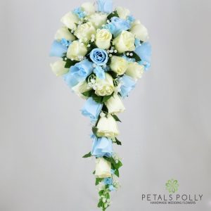 Silk baby blue and ivory rose brides teardrop bouquet