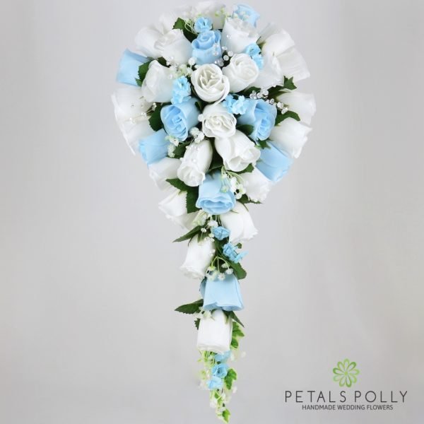 Baby Blue & White Rose Brides Teardrop Bouquet