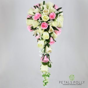 Silk baby pink and ivory rose brides teardrop bouquet