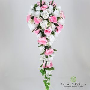Silk baby pink and white rose brides teardrop bouquet
