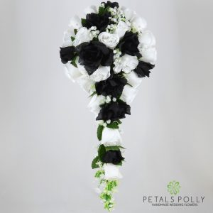 Silk black and white rose brides teardrop bouquet