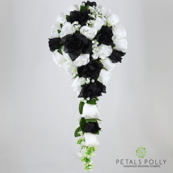 Black & White Rose Brides Teardrop Bouquet