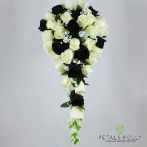Silk black and ivory rose brides teardrop bouquet