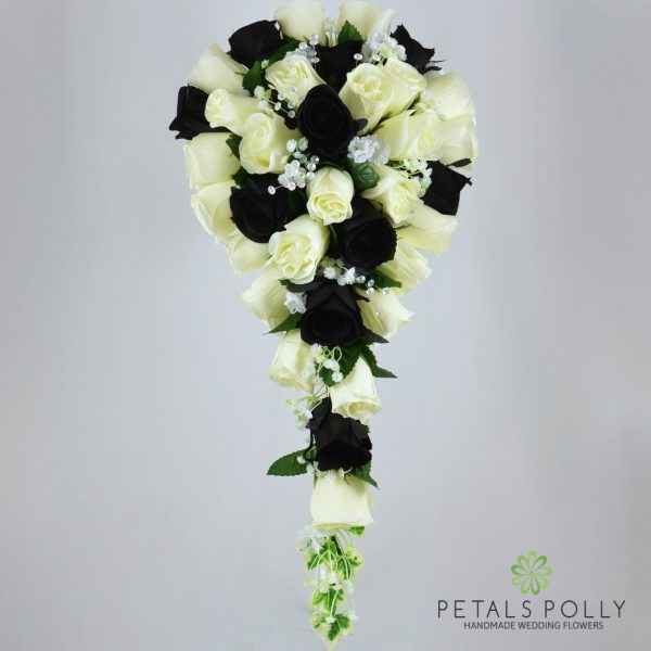 Black & Ivory Rose Brides Teardrop Bouquet