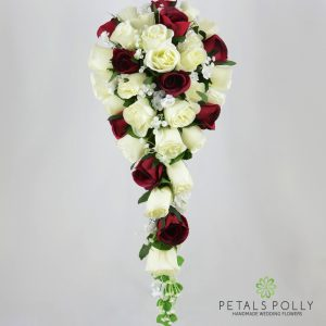 Burgundy & Ivory Rose Brides Teardrop Bouquet