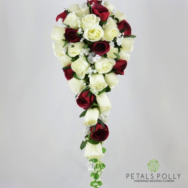 Burgundy & Ivory Rose Brides Teardrop Bouquet