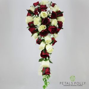Silk burgundy and ivory rose brides teardrop bouquet