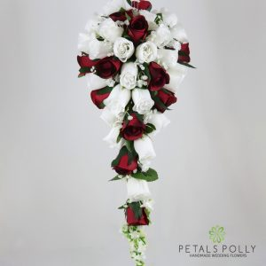 Silk burgundy and white rose brides teardrop bouquet