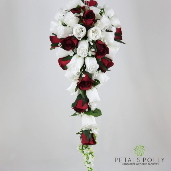 Burgundy & White Rose Brides Teardrop Bouquet