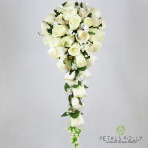 Silk champagne ivory gold rose brides teardrop bouquet