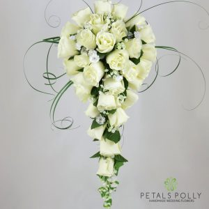 Silk cream ivory rose brides teardrop bouquet