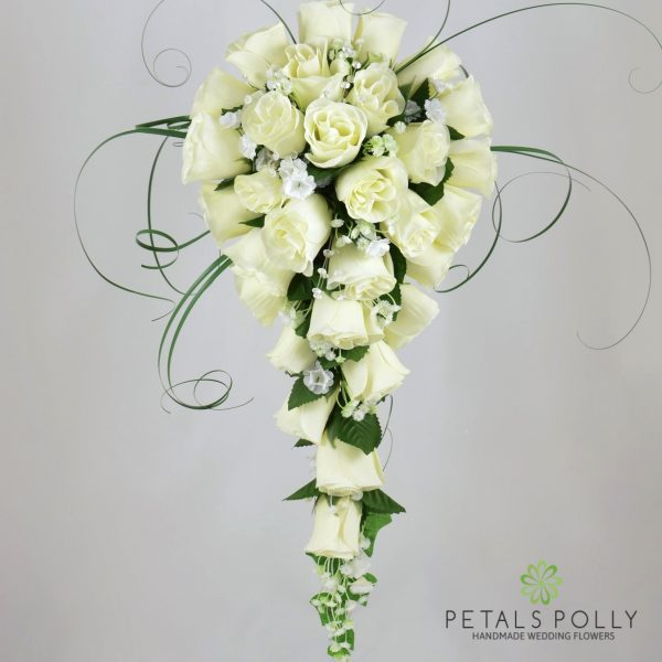 Ivory & Cream Rose Brides Teardrop Bouquet