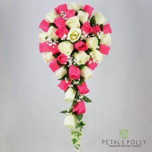 Silk hot pink and ivory rose brides teardrop bouquet