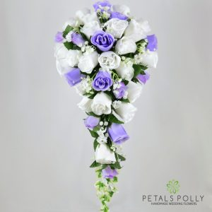 Silk lilac and white rose brides teardrop bouquet