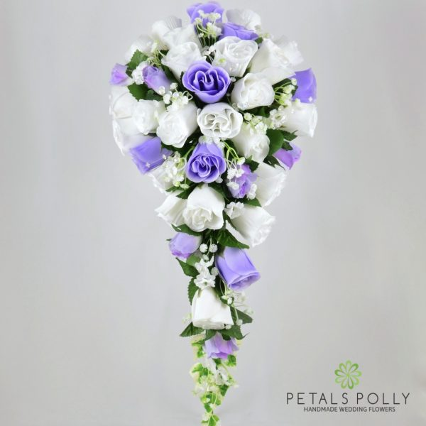 Lilac & White Rose Brides Teardrop Bouquet