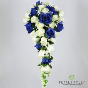 Silk navy blue and ivory rose brides teardrop bouquet