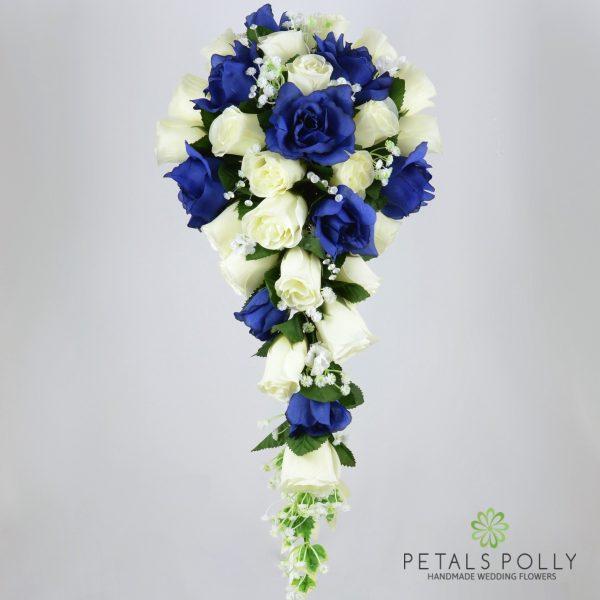 Navy Blue & Ivory Rose Brides Teardrop Bouquet