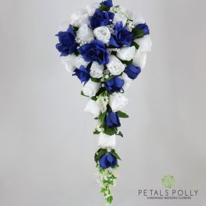 Silk navy blue white silver rose brides teardrop bouquet