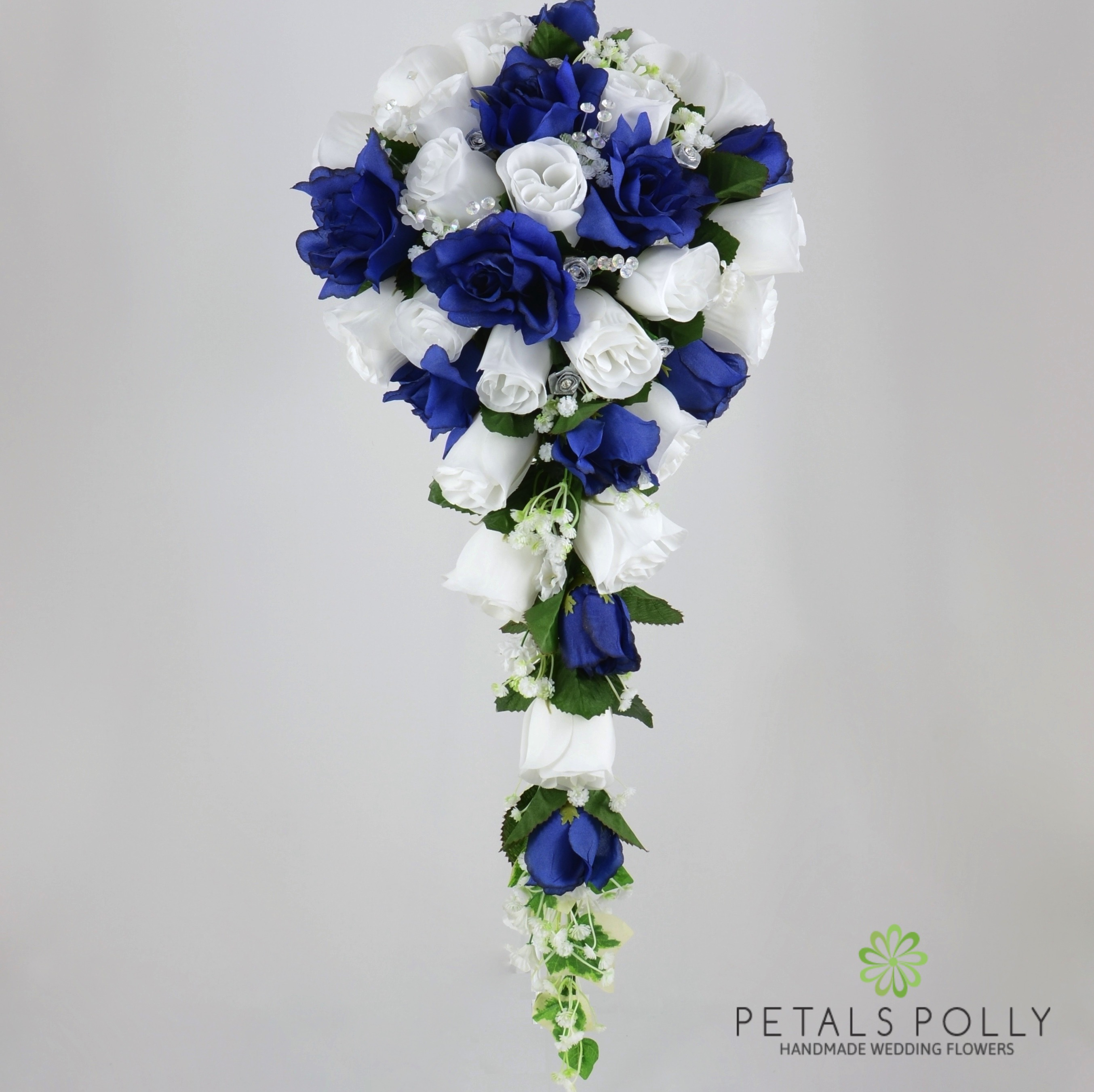 Navy Blue White Silver Rose Brides Teardrop Bouquet