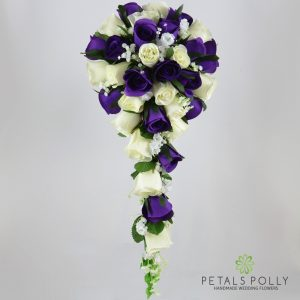 Silk purple and ivory rose brides teardrop bouquet