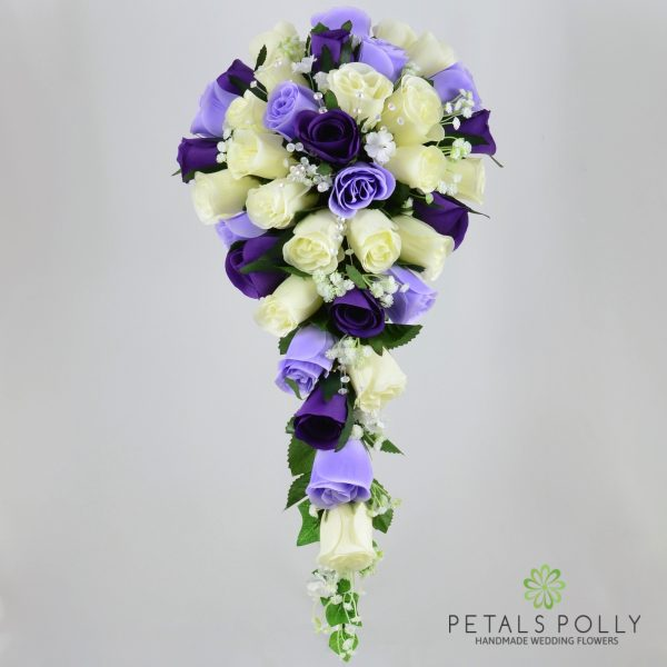 Purple, Lilac & Ivory Rose Brides Teardrop Bouquet